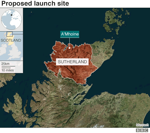 Map showing proposed launch site