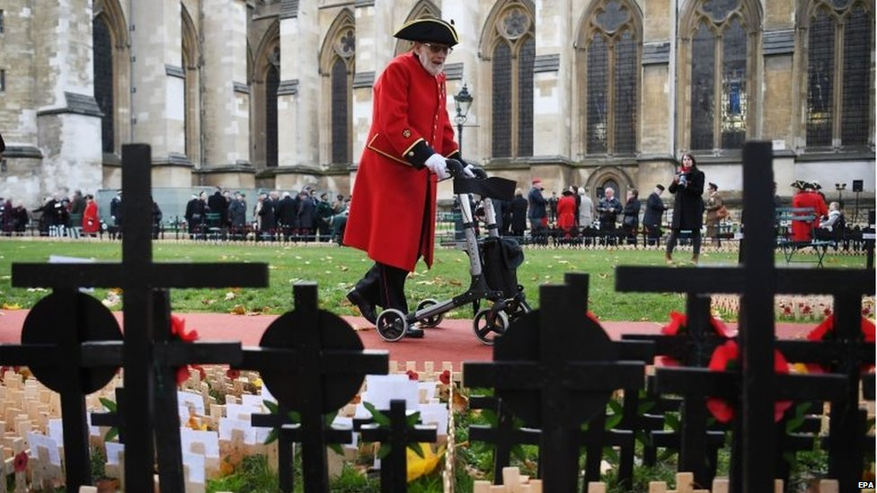 Service personnel attend the 91st Field of Remembrance at Westminster Abbey in London, Britain, 07 November, 2019.