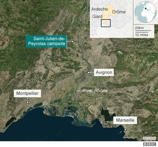 Map showing St-Julien-de-Peyrolas and other areas affected by flooding