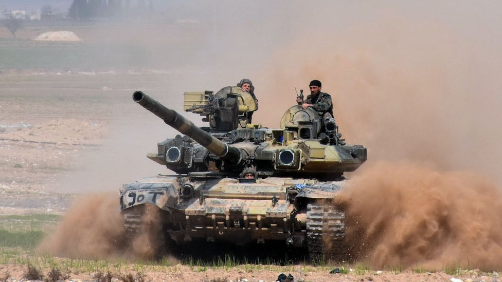 Syrian government tank near Aleppo, 8 Mar 17