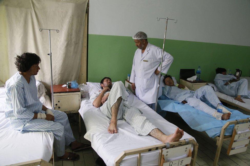 Injured survivors in a Kabul hospital, 24 July