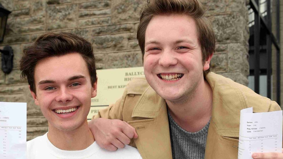 Ballyclare High School pupils Josh Graham and Chris McNeilly celebrate their results