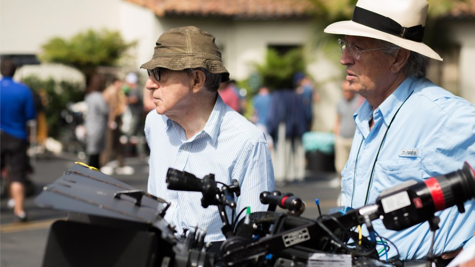 Woody Allen with Vittorio Storaro on set