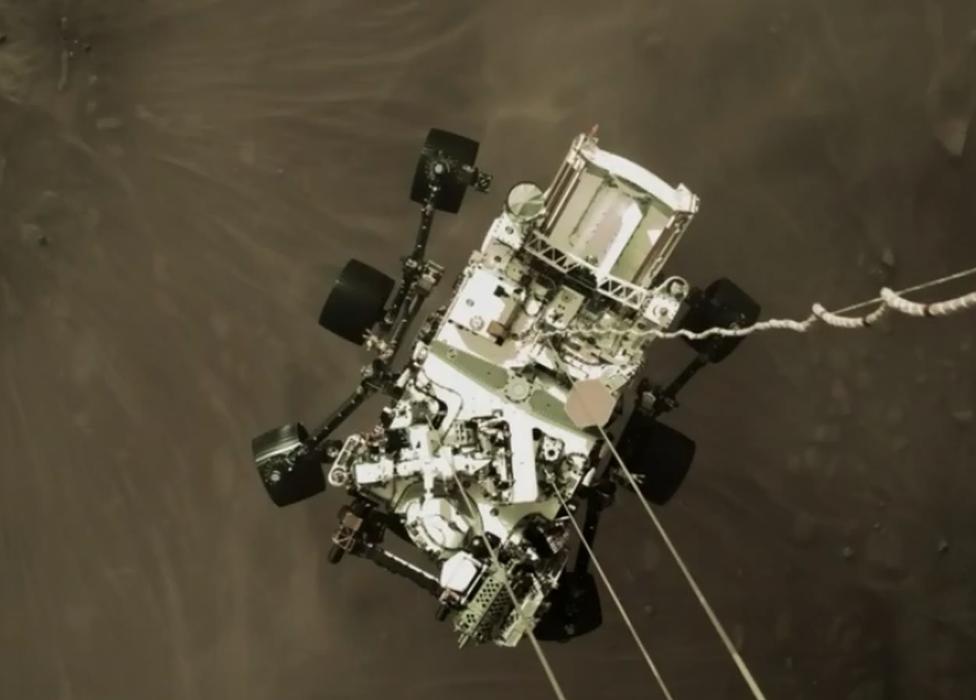 El Perseverance visto desde el cohete que lo auxilió