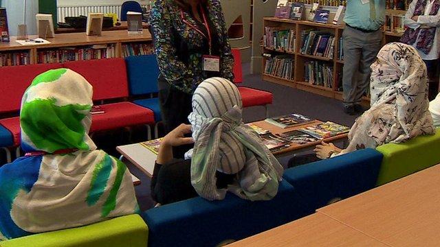 The three Yazidi women visited a school in Birmingham