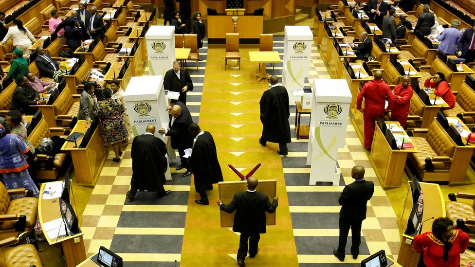 Four voting booths set up in South Africa parliament