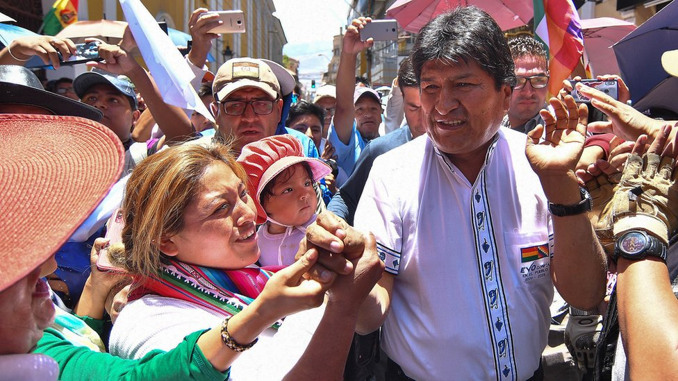 Bolivian President Evo Morales participates during a rally with supporters, in Cochabamba