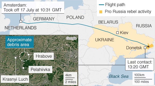 Map shows the route taken by flight MH17