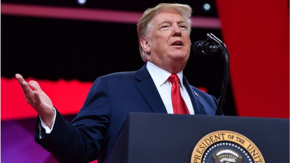 US President Donald Trump speaks during the annual Conservative Political Action Conference (CPAC) in National Harbor, Maryland, on March 2, 2019.