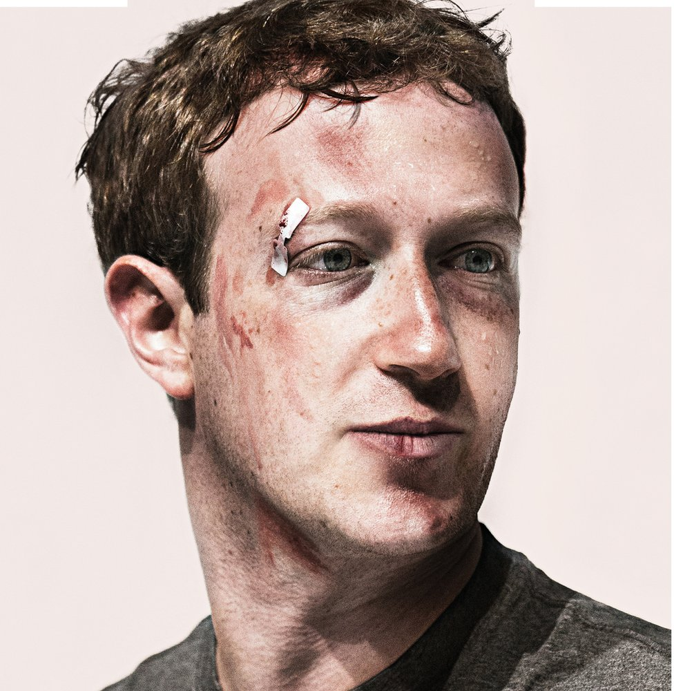 A bruised Mark Zuckerberg on the cover of the March edition of Wired magazine. The photo-illustration was created by Jake Rowland, a New York City-based artist.