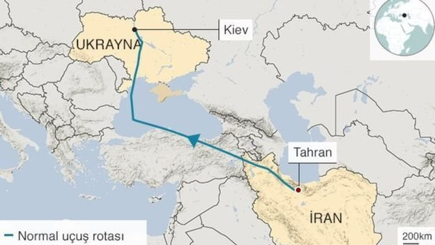 Düşürülen İran uçağının rotası