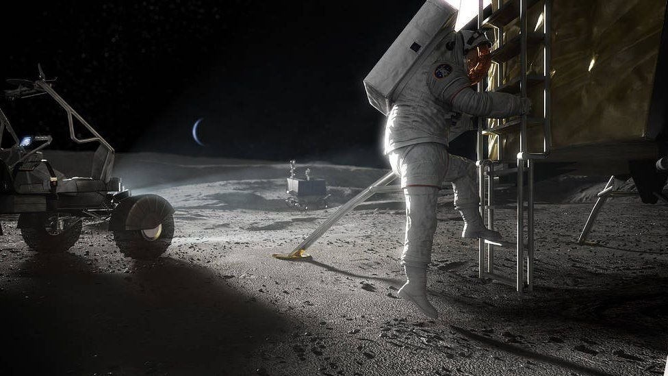 Ilustración de un astronauta en la Luna.