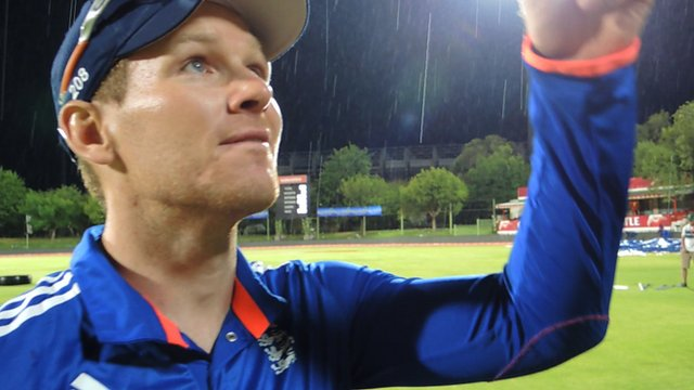 England captain Eoin Morgan's interview is halted by a thunderstorm