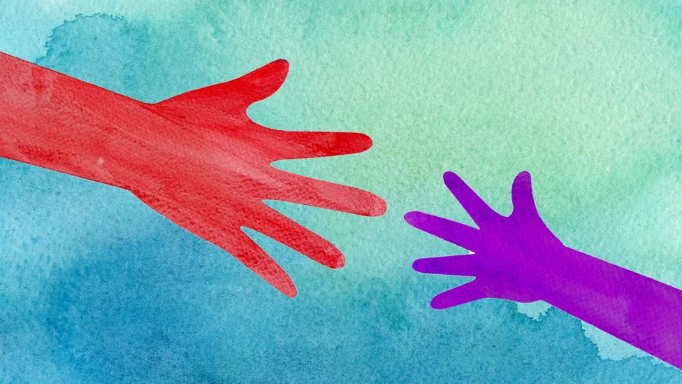 Ilustración de manos que se tocan