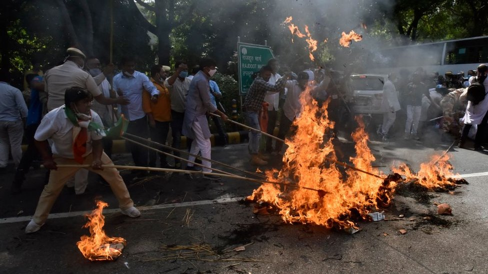 Opposition Congress workers protest in Delhi over the Hathras rape attack
