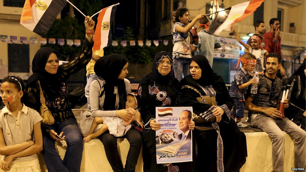 Egyptians celebrate the canal's expansion in Tahrir Square, Cairo