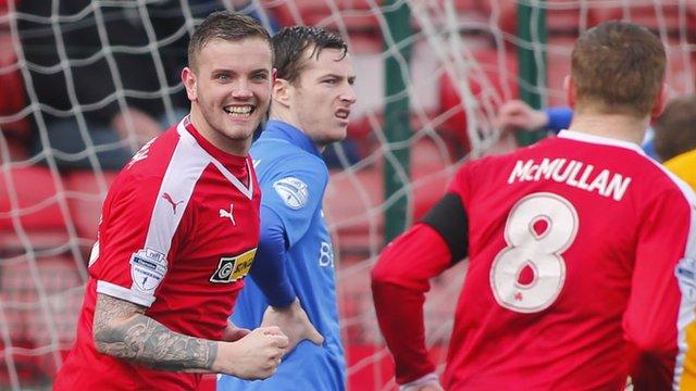 Cliftonville's Darren Murray celebrates his goal against Glenavon