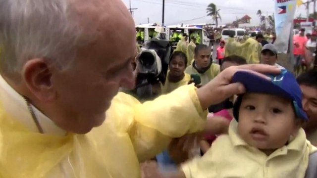 Pope Francis in the typhoon-hit Philippine city of Tacloban