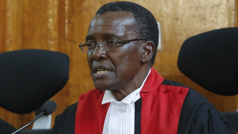 Chief Justice David Maraga delivers a ruling as the leader of The National Super Alliance (NASA) opposition coalition and its presidential candidate Raila Odinga, 1 September 2017