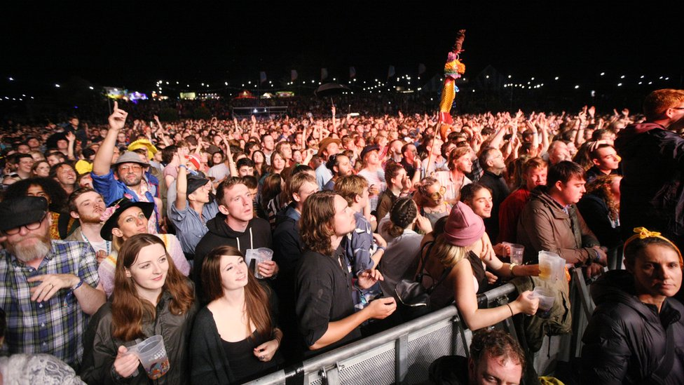 The crowd enjoys Friday night headliners Hot Chip at the Mountain Stage