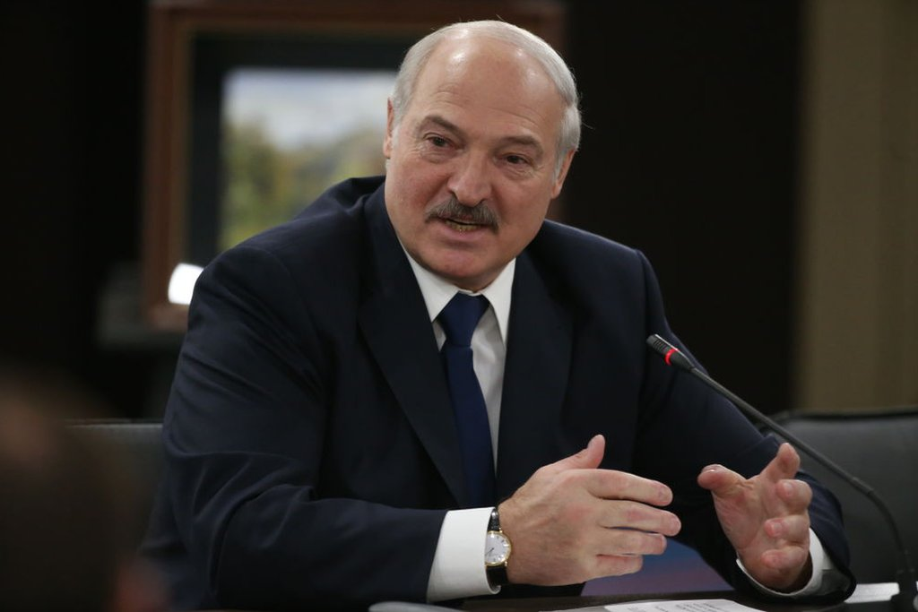 Belarusian President Alexander Lukashenko speaks during Russian-Belarusian talks on February 15, 2019 in Sochi, Russia.