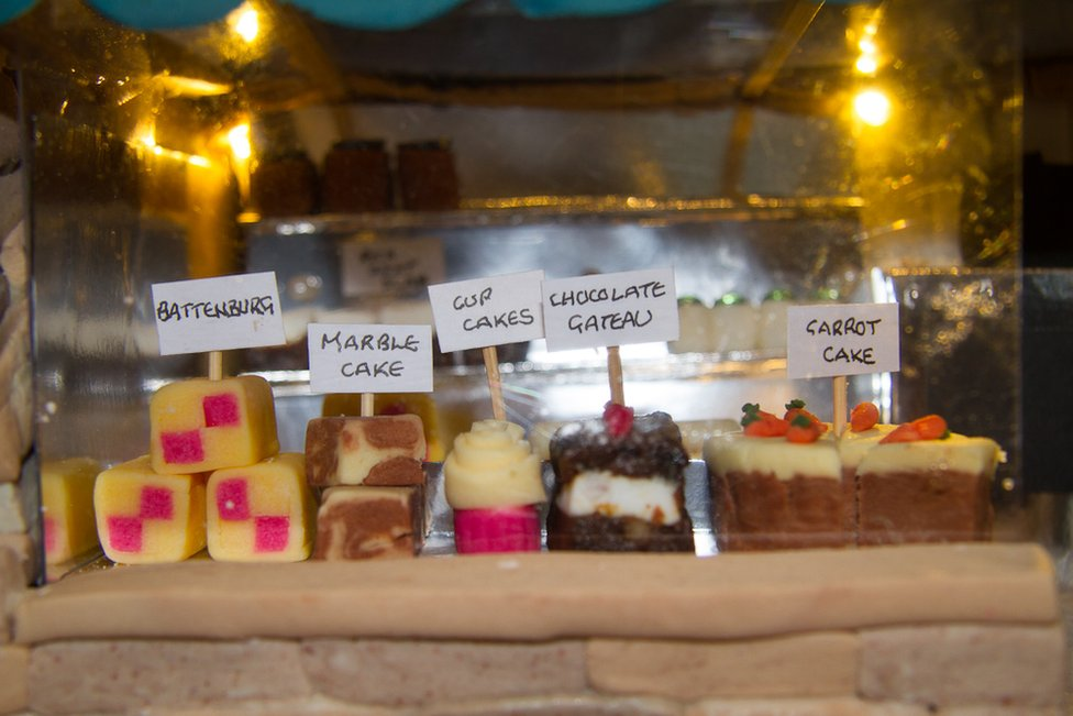 Close-up of cake showing baked goods