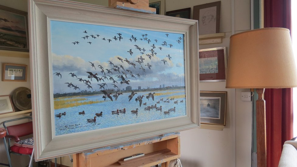 Peter Scott's last painting still on its easel