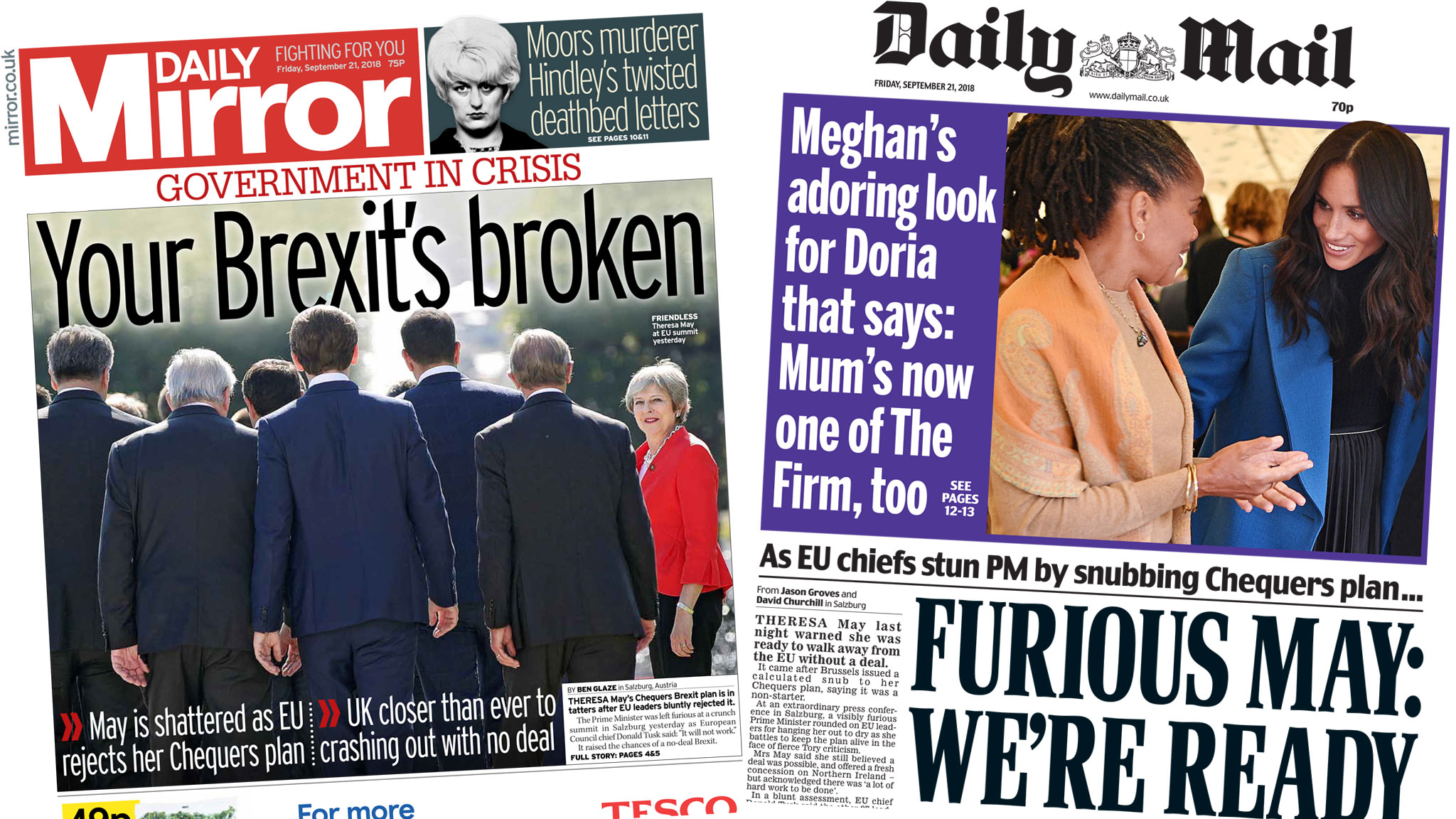 Paper review: 'Your Brexit's broken' and 'May humiliated'