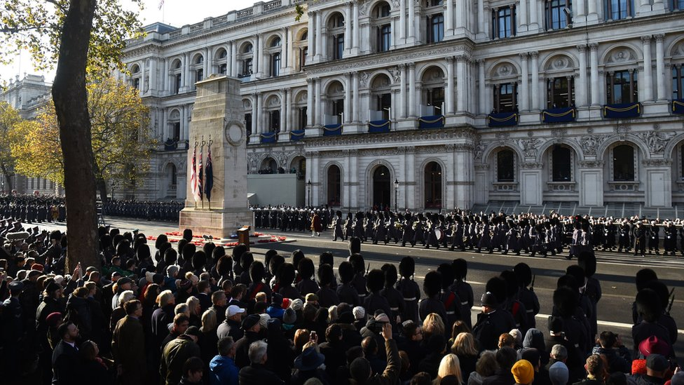 Remembrance Sunday service at the Cenotaph memorial in 2019