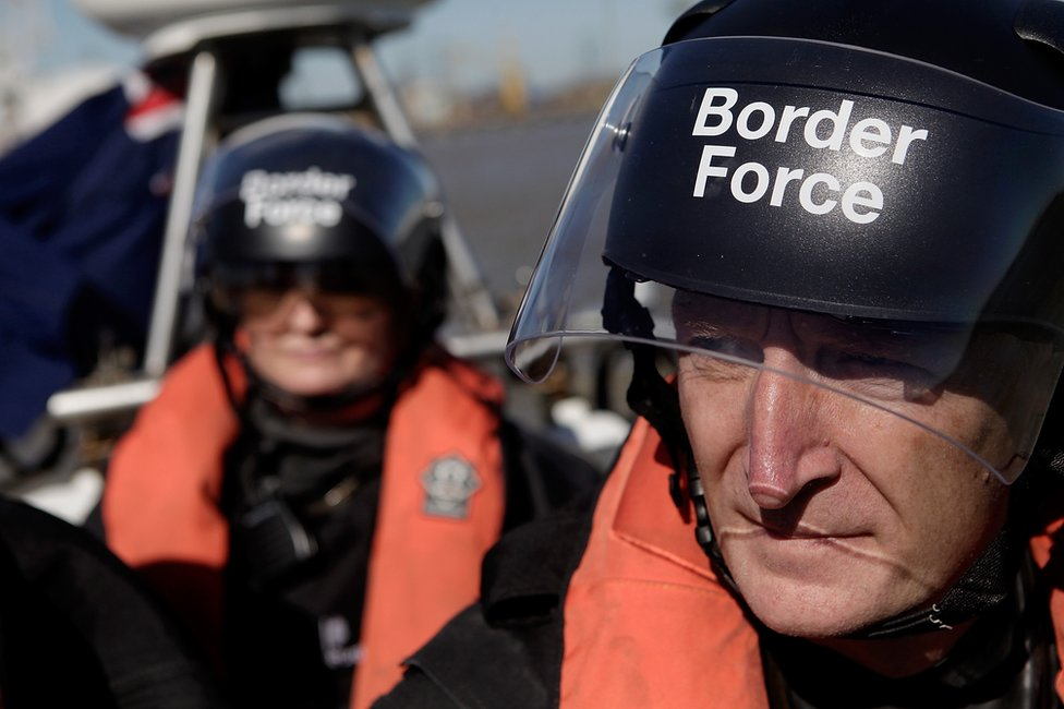 UK Border Force officials patrol the river Thames