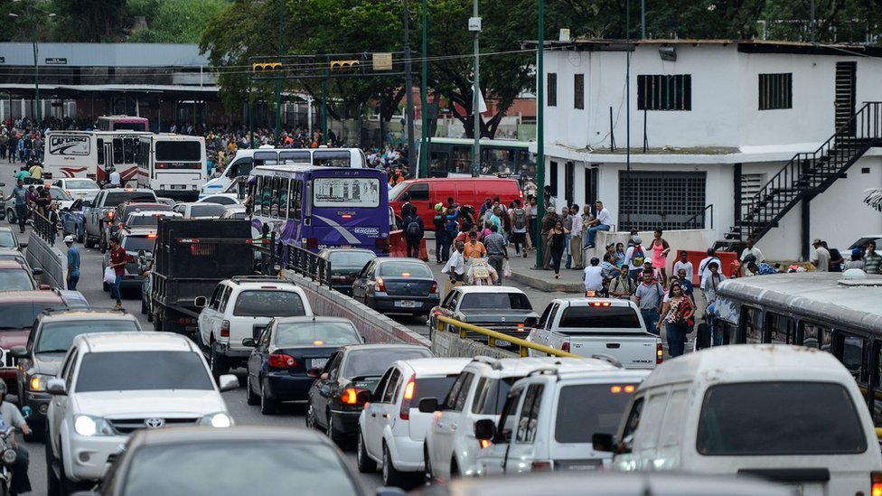 Picture of a traffic jam in Petare neighbourhood after Caracas and other parts of Venezuela were hit by a blackout