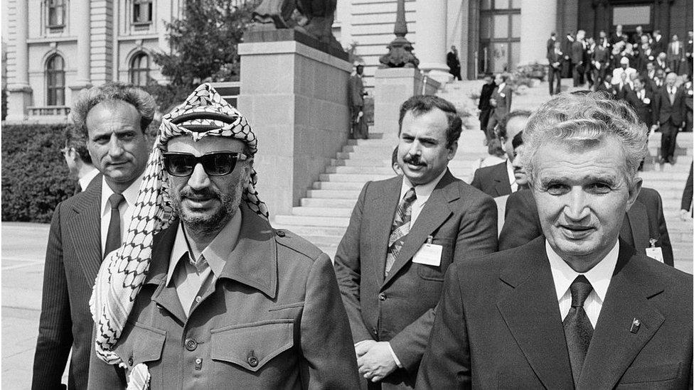 Jaser Arafat i Nikolae Čaušesku ispred Skupštine SFRJ