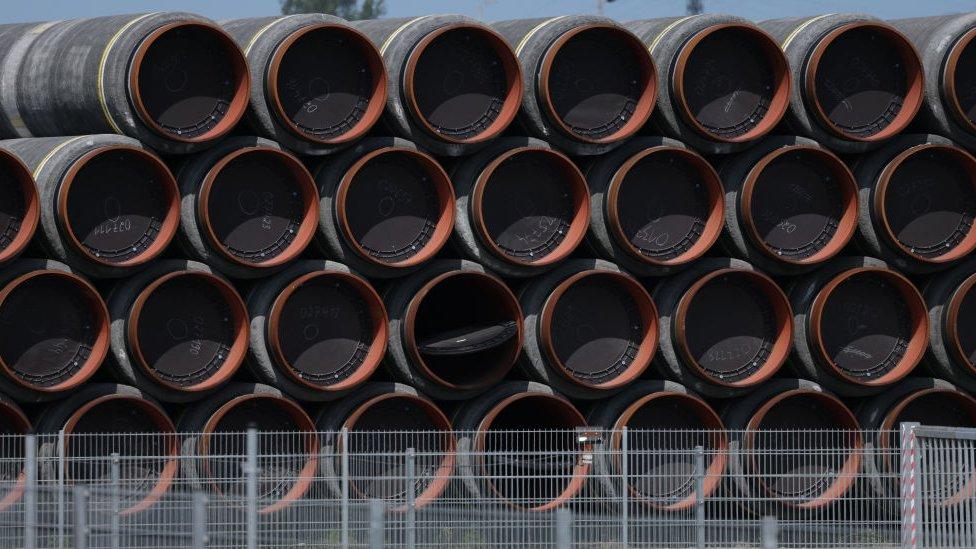 Fragmentos del gasoducto en Alemania.