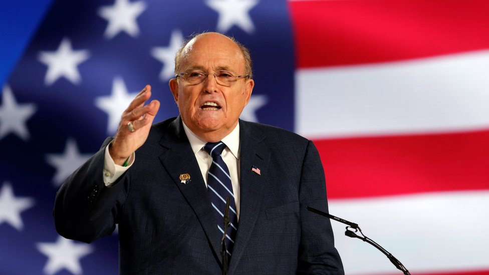 Rudy Giuliani speaks in 2019