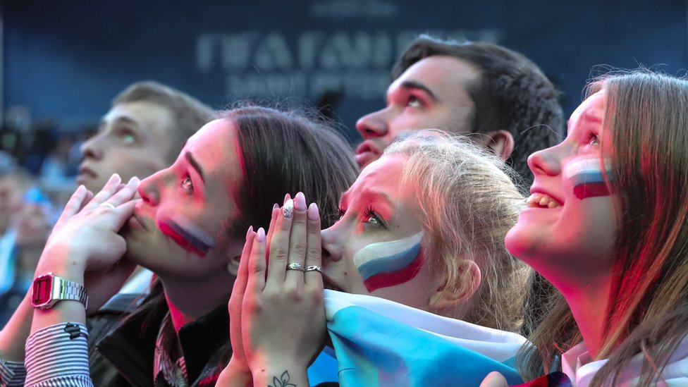 Russian fans at a public viewing of the FIFA World Cup 2018 quarter final in St Petersburg, 7 July 2018