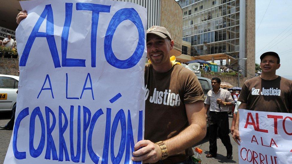Protesta contra la corrupción en Honduras.