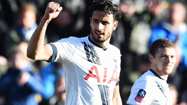 Nacer Chadli scores Tottenham's third goal