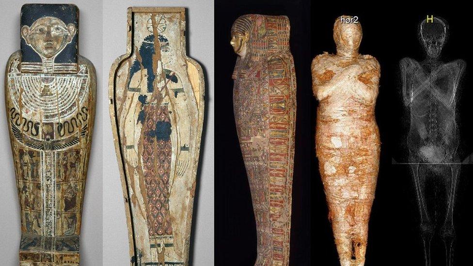 Imagen que muestra los escaneos y las visualizaciones de la momia.