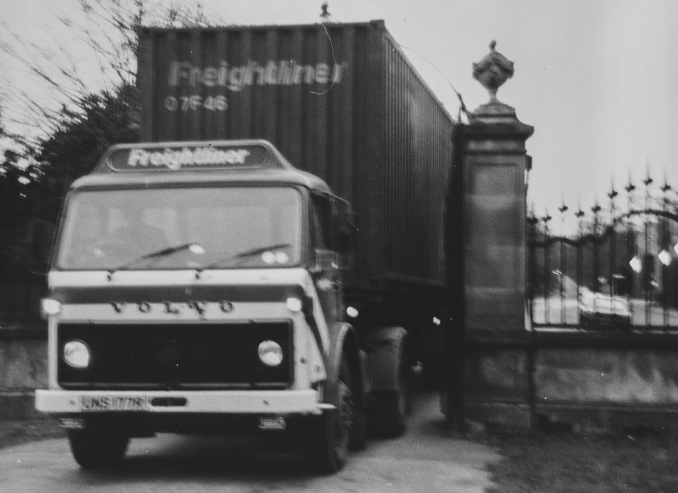 Denis Dobson's books being transported to Brancepeth Castle