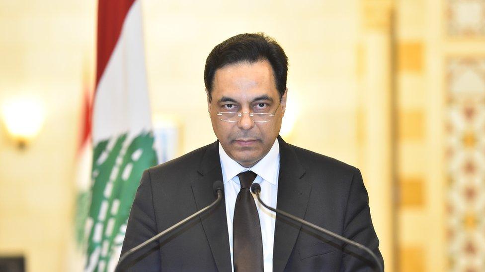 حسان دياب خلال خطاب استقالته