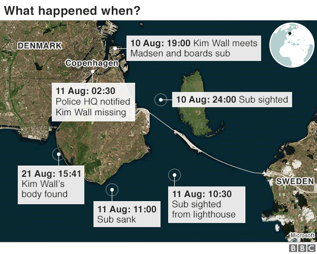 Map showing Copenhagen area, movements of submarine on 10 and 11 August, and location where Kim Wall's body found