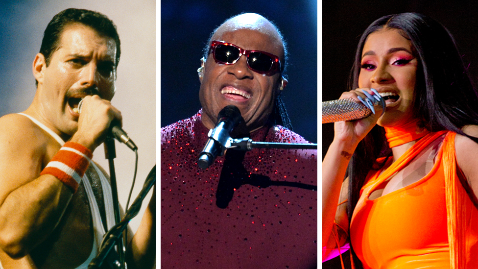 Freddie Mercury, Stevie Wonder, Cardi