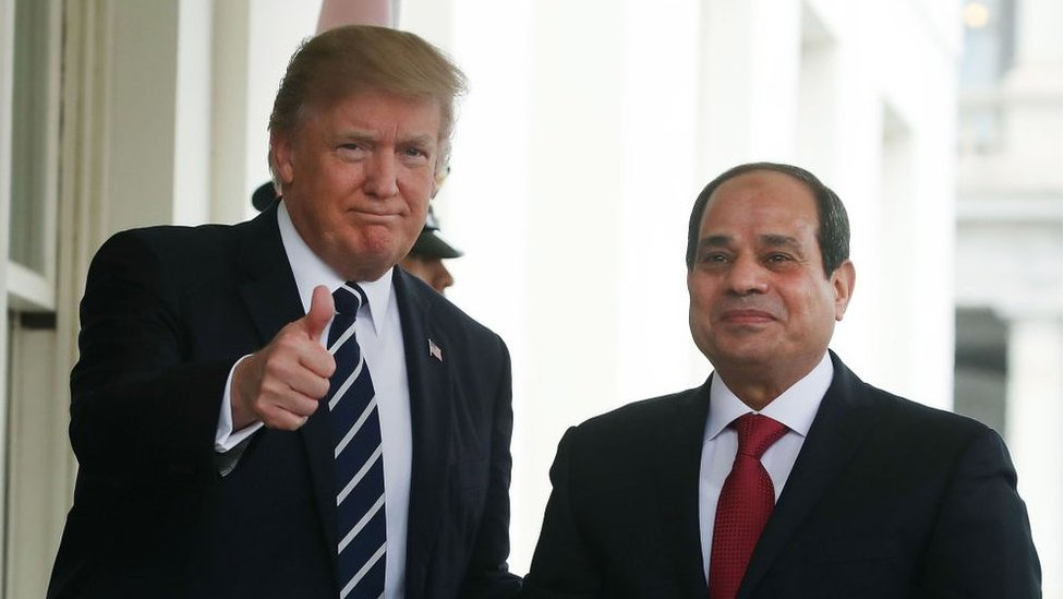 U.S. President Donald Trump welcomes Egyptian President Abdel Fattah Al Sisi during his arrival at the West Wing of the White House on April 3, 2017 in Washington, DC.