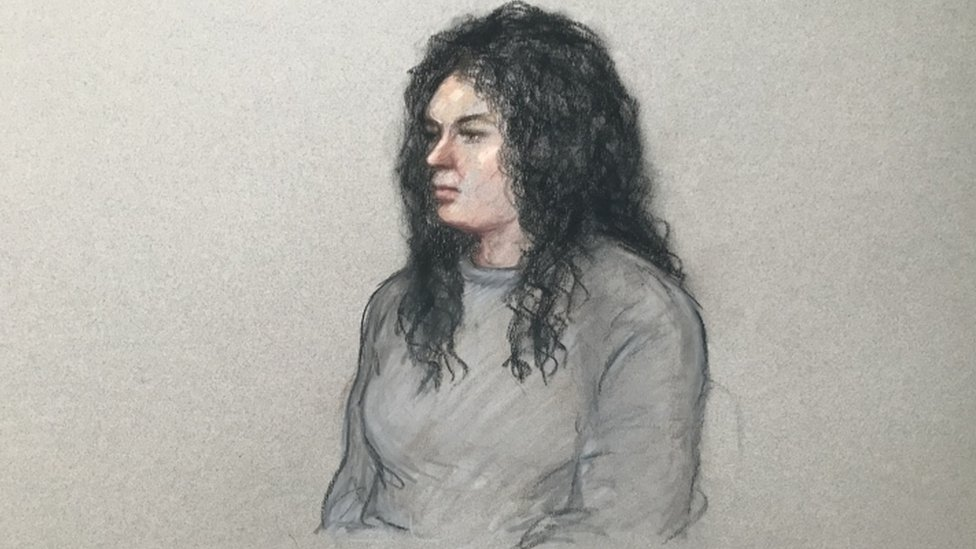 Artist's impression of Chelsea Mitchell at Staines Magistrates' Court