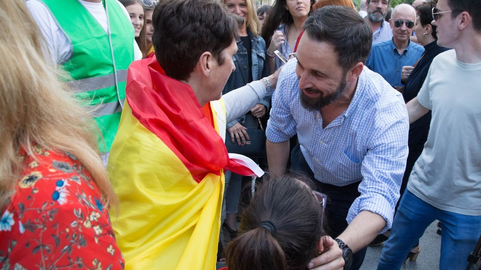 Santiago Abascal, leader of Vox, seen greeting his supporters in Madrid in June 2018