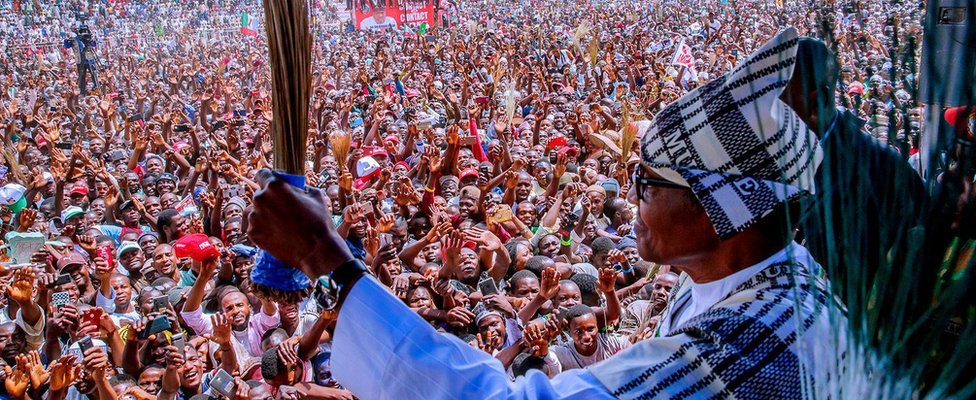 Nigerias President Muhammadu Buhari attends a campaign rally