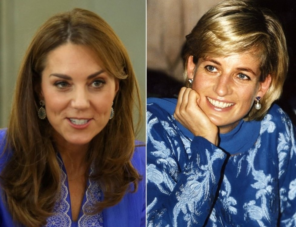 File photo dated 15/10/19 of the Duchess of Cambridge wearing a periwinkle blue traditional kurta by local designer Maheen Khan, during a visit to a school in central Islamabad on day two of the royal visit to Pakistan, and file photo dated 23/05/97 of Diana, Princess of Wales, pictured in a royal blue shalwar kameez, during her visit to Lahore, Pakistan.
