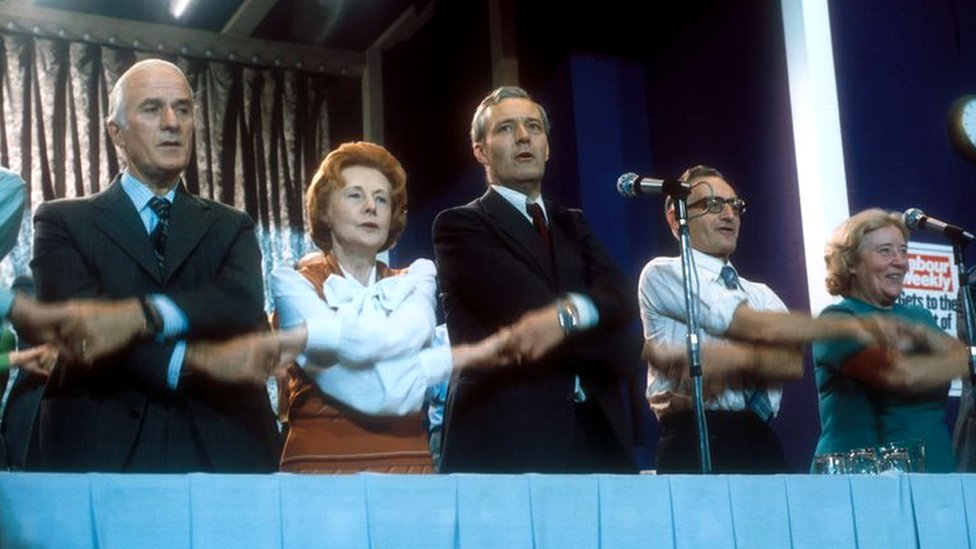 Barbara Castle and Tony Benn sing the Red Flag at the 1976 Labour conference
