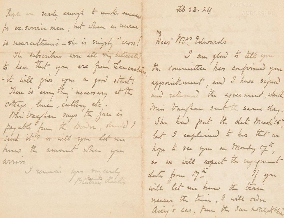 Autograph letter signed Beatrix Heelis