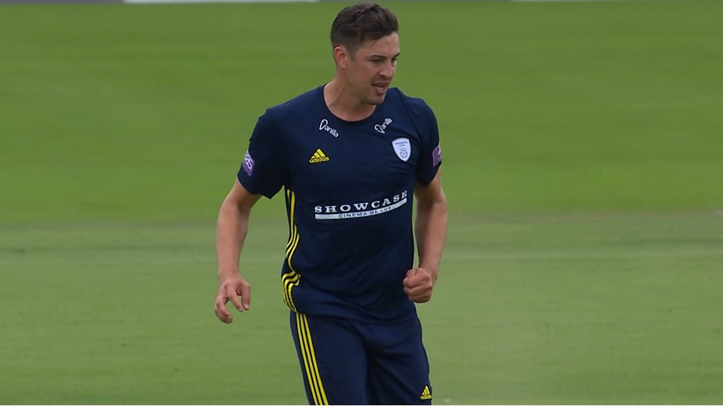 Chris Wood yorker uproots Tim Bresnan's middle stump